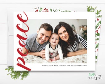 Peace Christmas Card - Printable Christmas Card - Simple and Minimal Christmas - Custom Photo Christmas Card - Christmas Card with Picture