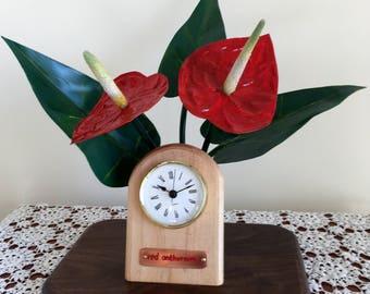 Red Anthurium Table Clock