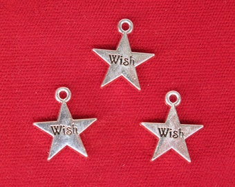 """BULK! 15pc """"Wish"""" charms in silver style rhodium-plated (BC1323B)"""