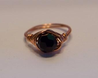 Custom Handmade Black Swarovski Wire Wrapped Ring