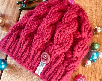 Hand Knit Messy Bun Hat / Pony Tail Hat