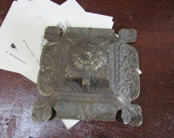 Antique Brass Inkwell CBF Made in England Victorian Ornate Footed Inkwell Office Decor For the Writer Caligraphy Pens Crafting