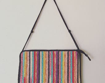 Vintage  Rainbow Straw Clutch