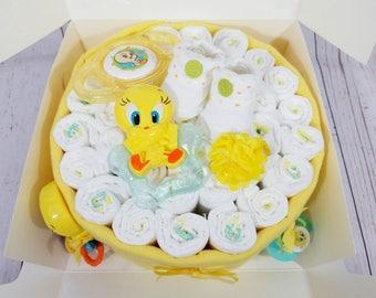 Tweety Bird inspired Diaper Cake  Diaper Cakes  Baby Gifts  Little Birdy Baby Gifts  Tweety Bird Baby Gifts  Girl's  Baby Gifts  Baby Girl