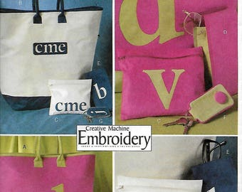 Butterick 4473     Monogrammed Totes and Accessories  Pattern    Uncut