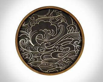 Japanese Waves, Wall Art, Ocean, Sea, Nautical, Wood, 3D,