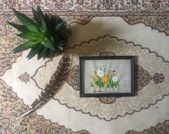 Vintage hand Embroidered 1974 Floral framed  Home Decor