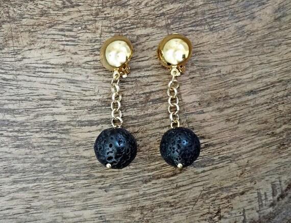 "Black Lava Ball Earrings • ""Dark Moon"" Black Lava Gemstones • Chained Earrings • Boho Gold Plated Brass Clip Earrings"