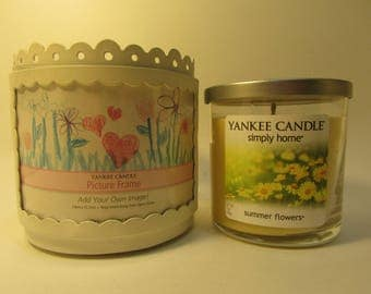 Yankee Candle Decorate Your Own Candle Holder w/Summer Flowers Tumbler Candle