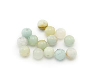 5 mineral, round amazonite beads, 8 mm, beige and blue