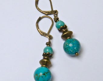 Jade mashan blue, bronze, Stud Earrings turquoise idea Nature women gift earrings