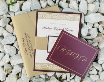 Traditional Formal Burgundy Marsala Wine Red Plum and Gold Layered Wedding Invitation with Enclosure Band/Monogram - Multiple Color Options!