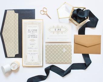 CUSTOM ORDER Art Deco Gatsby Themed Gold and Black Wedding Invitation, Envelope & RSVP