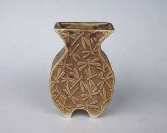Small handmade ceramic vase with dragonfly pattern, porcelain pottery, made from slabs