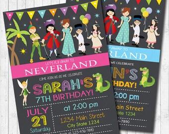 Neverland Invitation, Neverland Invite, Neverland Birthday, Neverland party, Peter Pan Invitation, Peter Pan Invite, printable