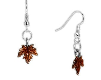 Burnt Orange Petite Maple Leaf Earrings in Silver Tone, Autumn, Harvest, Halloween, Thanksgiving * FREE Shipping in USA *