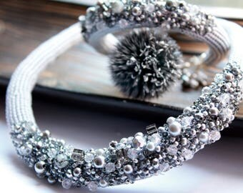 Silver gray bib necklace Crystal necklace Embroidery crochet necklace Statement necklace Bead embroidery bracelet Bohemian wedding Festival