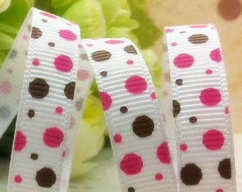 9mm white pink Brown fuchsia polka dot grosgrain Ribbon sold by the round meter