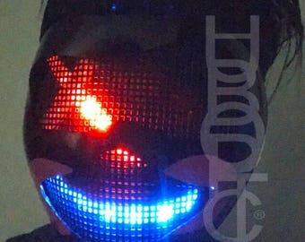 Rave Mask Black Clown FX Joker Mask - Light Up Mask LED Scifi Robot Face Costume Cosplay Cyborg Party EDM Mask Payaso Neon Lit Glow Mask