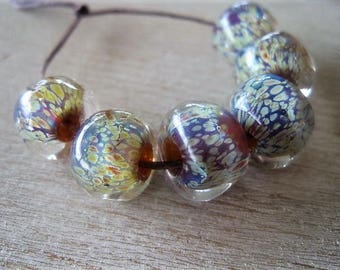 "Glass Lampwork 6 Reactive Lavender Pastel Creamy Encased ""Reduction"" Beads"