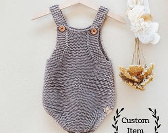Simply Knit Romper / Baby Onesie / Knitted Overalls / Baby Boy Romper / Baby Girl Romper