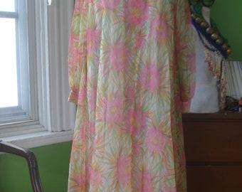 1960s 1970s Vintage Goddess Maxi Dress