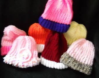 Hand knit lot of 7 girls premie/doll hats