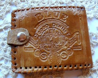 Vintage Hand Tooled Leather Wallet/ Card Organizer/Good Denim Wallet/1980s