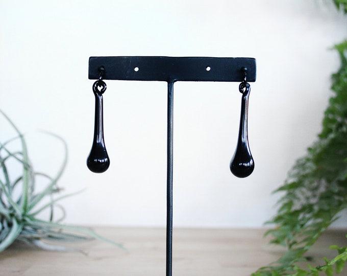 Long Black Glass Earrings - Black Drop Earrings - Glass Drop Earrings - Black Glass Dangle Earrings - Elegant Black Teardrop Earrings
