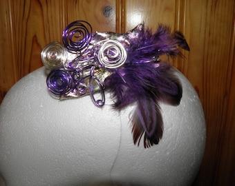 Unique feather and Ribbon aluminum wire headband