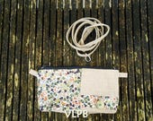 Portefeuille multipoches lin naturel et  liberty Wiltshire