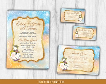 Beauty and the Beast Baby Shower Invitation, Once Upon A Time, Designs Only, Chip & Mrs. Potts