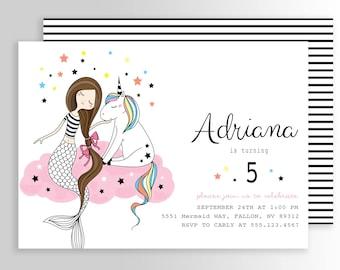 Modern Mermaid Unicorn Invitation Mermaid Birthday Invitation Unicorn Mermaid Invitation Mermaid Unicorn Birthday Party