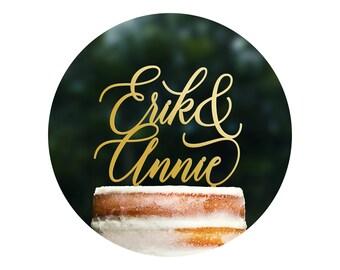 Custom Wedding Cake Topper, Personalized Name Cake Topper, Calligraphy Cake Topper, Scripted Cake Topper, Monogram Cake Topper (T399)