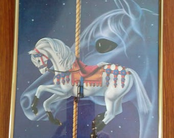 Magical merry-go-round horse framed picture
