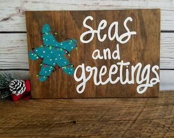 Beach Christmas Decor, Seas and Greetings, Coastal Christmas, Christmas Wall Art, Christmas Beach Sign, Holiday Sign, Starfish Christmas