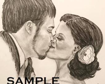 Custom Wedding Charcoal Drawing - The Kiss