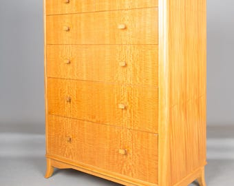 Retro Tallboy Chest of Drawers Retailed By Heals of London Vintage 1960's Six Drawers