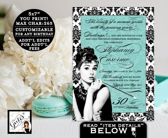 Breakfast at Birthday Invitation, Audrey Hepburn 30th BIRTHDAY, personalized, customizable colors, turquoise blue and black, PRINTABLE 5x7.