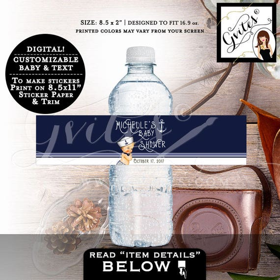 "Water Bottle Labels, nautical baby shower, customizable label, little sailor stickers bottle wrapper. PRINTABLE 8.5x2""/3 Per Sheet."