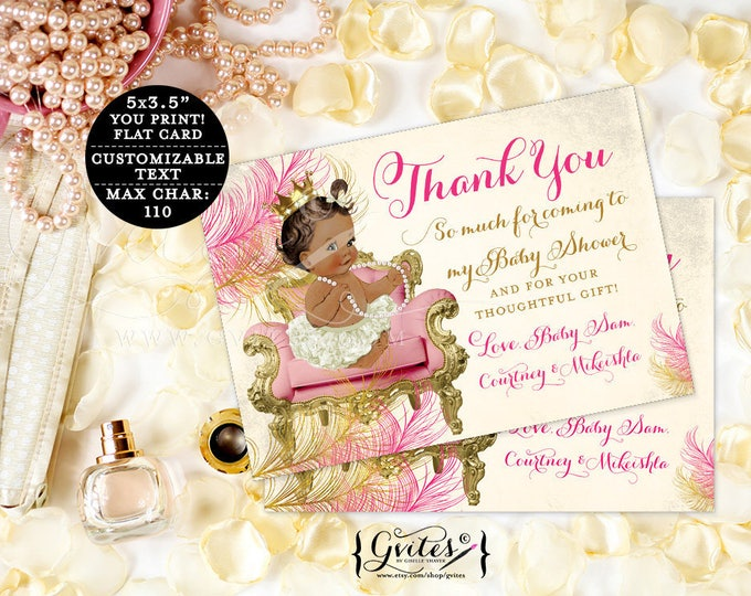 """Pink and Gold Thank You Card Notes, baby shower thank you card girl, princess baby girl thank you custom cards. {5x3.5"""" 4 Per/Sheet}"""