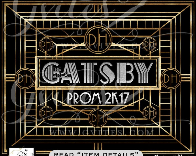 BackdropThe Great Gatsby Backdrop theme backdrop, the great gatsby theme party banner signs, prom graduation, backdrops. Digital File Only!