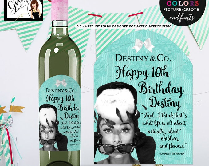 Wine Label Birthday Sweet 16 Wine Labels Audrey Hepburn Happy Birthday LABEL bottle label, sticker. {Designed For Avery® 22826} PRINTABLE