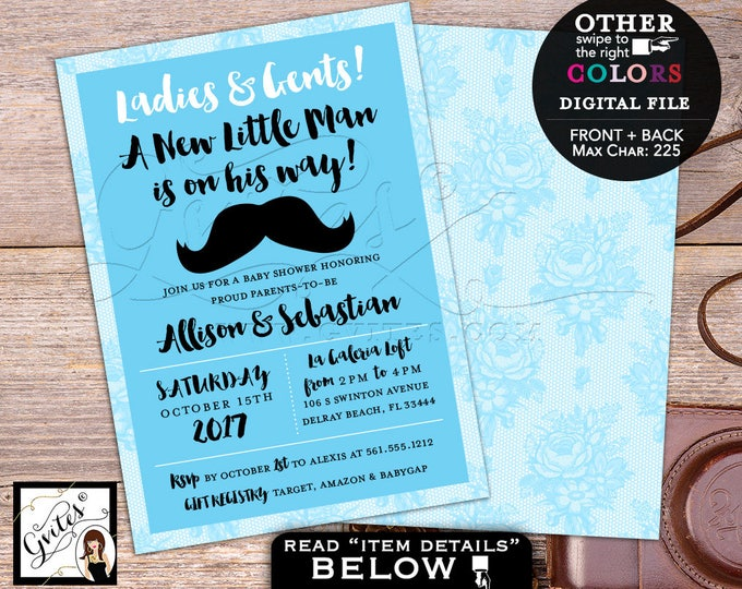 Little man baby shower invitation mustache baby blue little man shower party invites, printable, diy, double sided, 5x7, Gvites