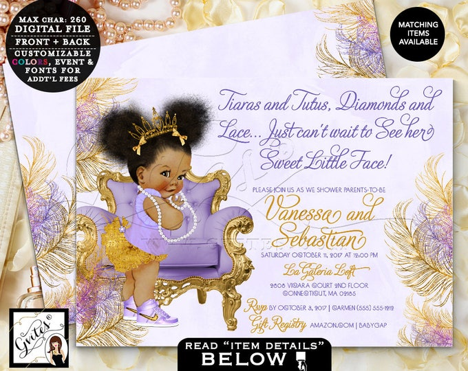 "Purple and Gold baby shower, lavender silver gold invitations, afro puffs ethnic princess tiaras tutus diamonds, Double Sided 7x5"" TIAPAC4GG"