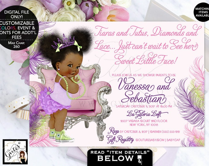 "Purple pink and lime green baby shower, tutus tiaras diamonds pearls, lavender afro puffs, tiara, princess, african american. 7x5"" DIGITAL."