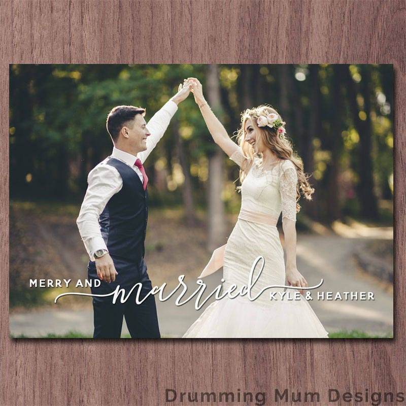 first married christmas card merry and married holiday card photo