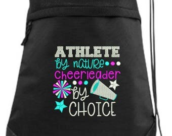 Cheer Drawstring Bag/ Embroidered Cheer Bag/ Athlete By Nature Cheerleader By Choice/ Cheer Cinch Drawstring Bag/ Embroidered Bag