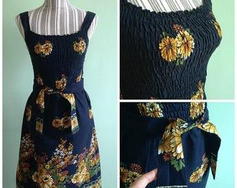 30% OFF Fitted Floral Dress, Gypsy Hippie Dress, Women Beach Dress, Elastic Top Dress, Thai Dress, Black Yellow Brown Bohemian Dress, Size S