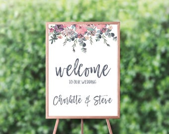 Printable wedding welcome sign - Welcome to our wedding - welcome to our wedding sign - floral printable welcome to our wedding sign